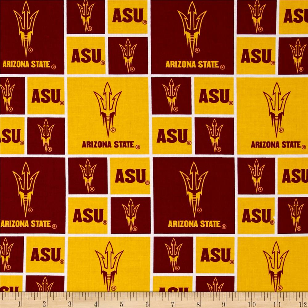 Collegiate Cotton Broadcloth Arizona State University Yellow Fabric By The Yard
