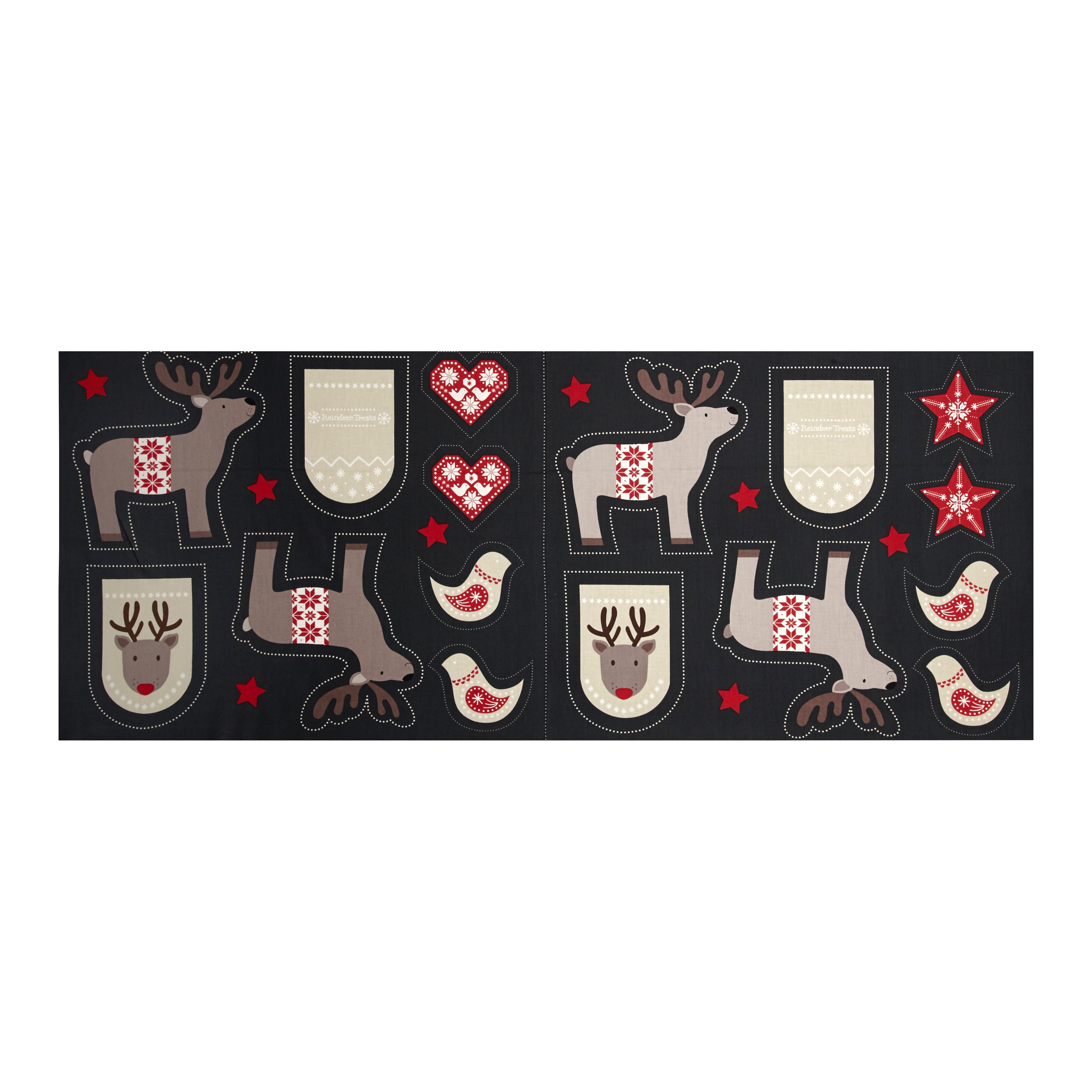 When I Met Santa's Reindeer Ornament 18 In. Panel Black Fabric by E. E. Schenck in USA
