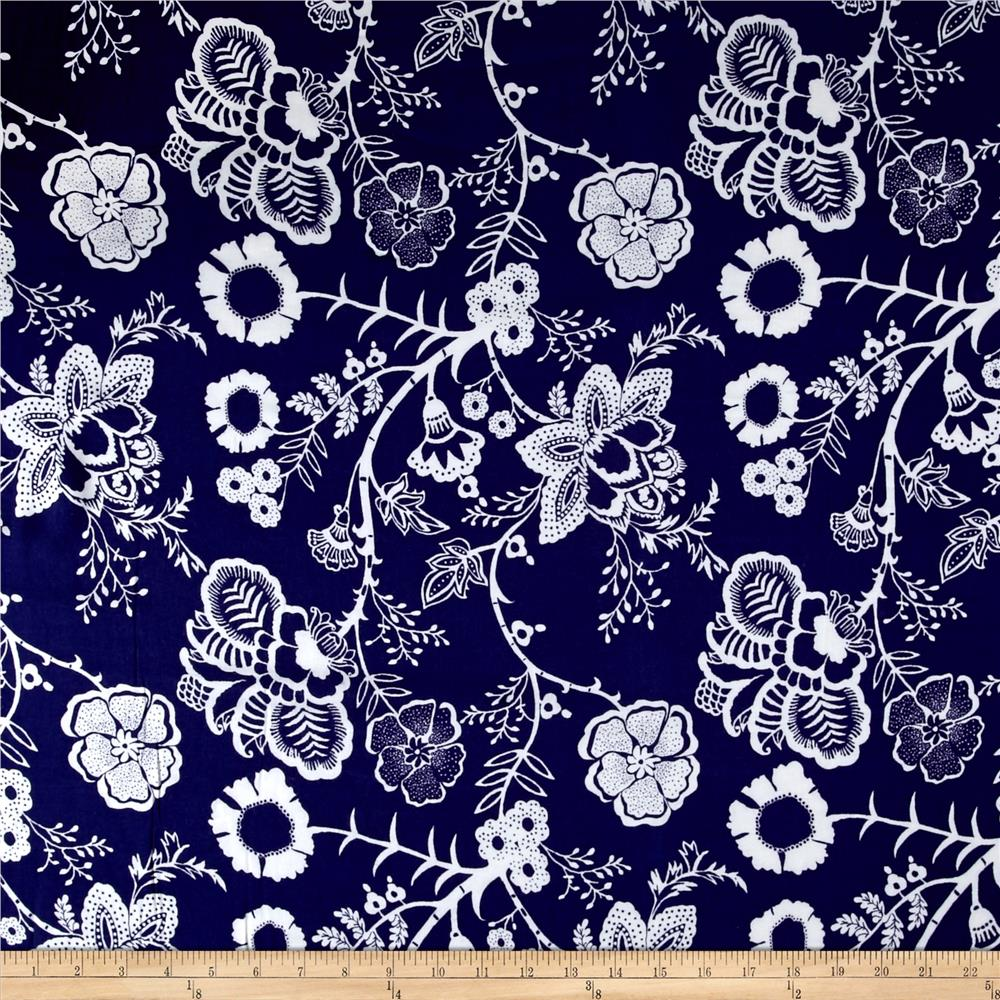 Royal blooms rayon challis special indigo ivory discount for Rayon fabric