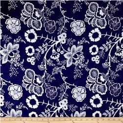 Royal Blooms Rayon Challis Special Blue/Ivory
