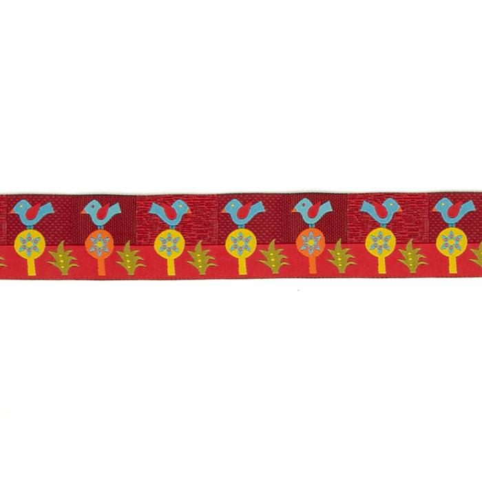 "1 1/2"" Sue Spargo Folkloric Ribbon Blue Bird"
