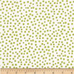 Quilting Treasures Monster Mash Dots White/Green Fabric