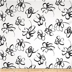 Telio Bloom Stretch Cotton Sateen Flower Print Ecru/Black