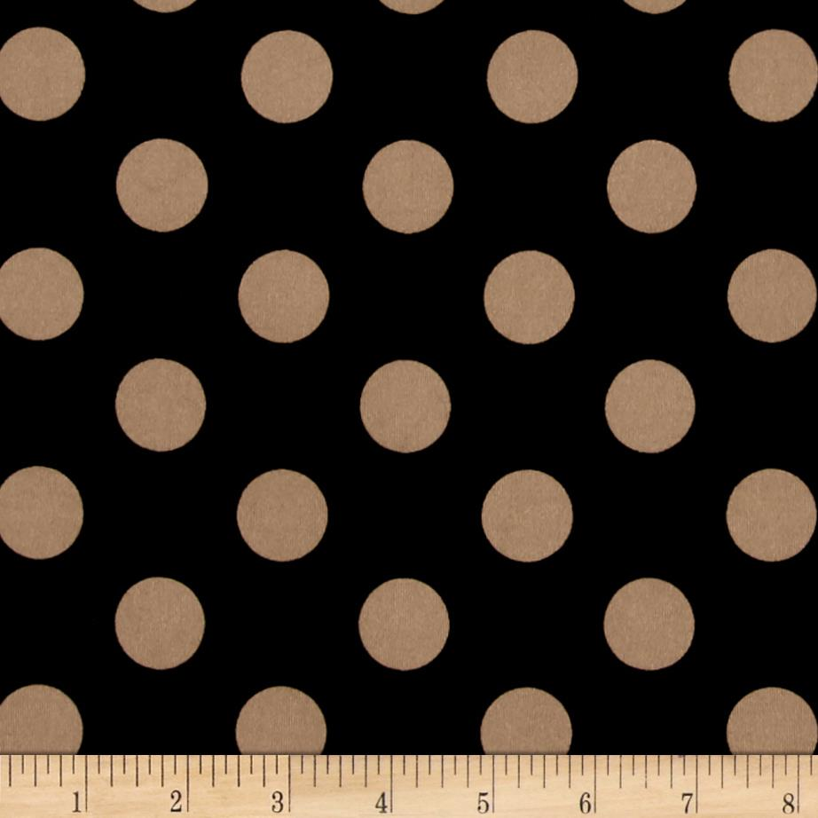 Stretch ITY Jersey Knit Dot Black and Taupe
