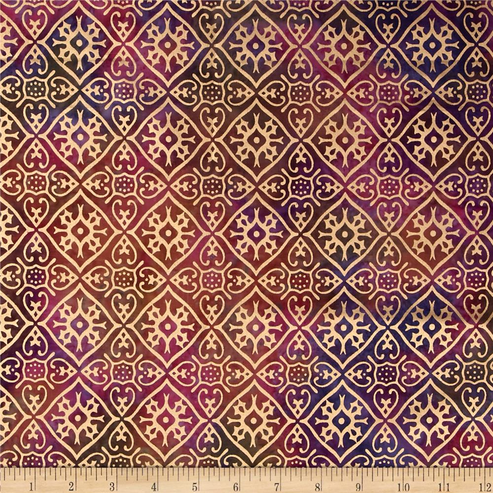 Indian Batik Tribal Diamond Metallic Pink/Purple