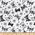Ink Blossom Butterflies White