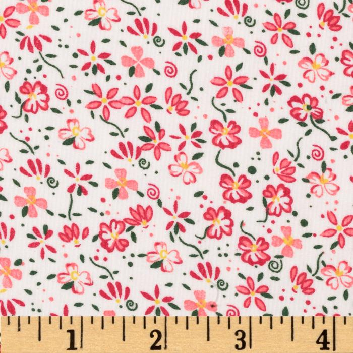 21 Wale Corduroy Small Flowers White/Pink