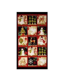 "Winter Bliss Holiday 24"" Panel Black"