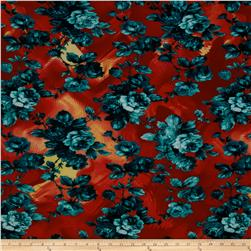 Designer Stretch ITY Knit Floral Teal/Red