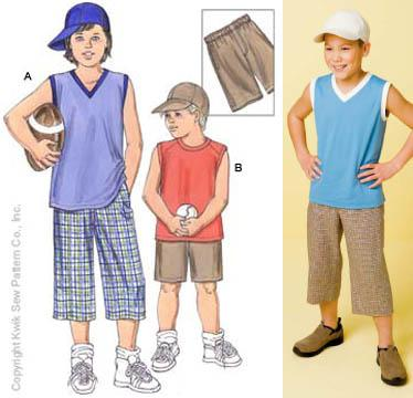 Kwik Sew Boys Shorts, Shirts & Baseball Cap Pattern