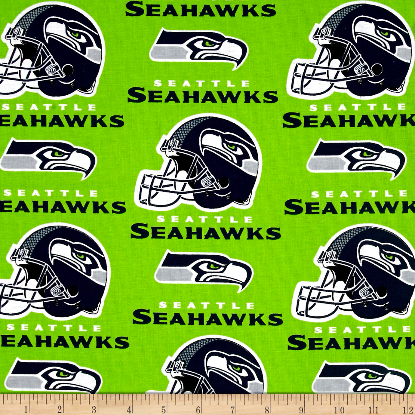 NFL Cotton Broadcloth Seattle Seahawks Green Fabric by Fabric Traditions in USA
