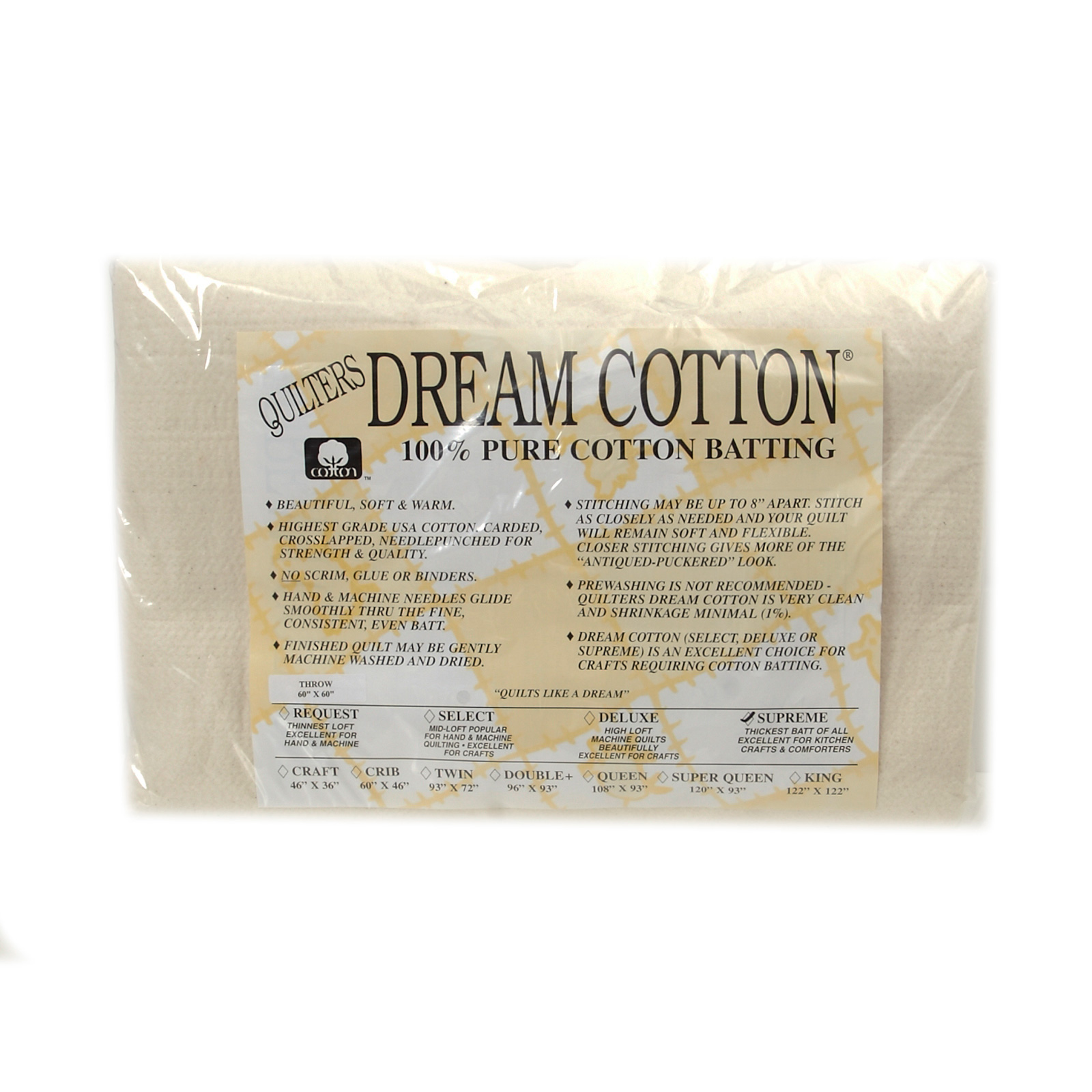 Quilter's Dream Natural Cotton Supreme Batting (60'' x 60'') Throw by Quilter's Dream in USA