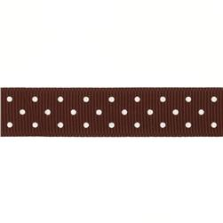 "Riley Blake 5/8"" Grosgrain Ribbon Mini Dot Brown"