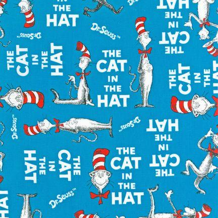 The Cat In The Hat Book Cover Turquoise - Discount Designer Fabric ...