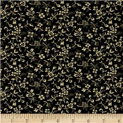 "108"" King Quilt Backs Small Floral Black"