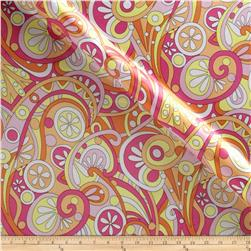 Michael Miller Charmeuse Satin Mod Swirls Peach Fabric