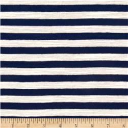 Jersey Knit Small Blue Stripe on Ivory