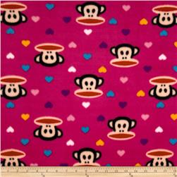 Julius & Mini Hearts Fleece Pink Fabric