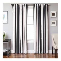 Sunbrella 84'' Rod Pocket Stripe Outdoor Panel Natural/Black