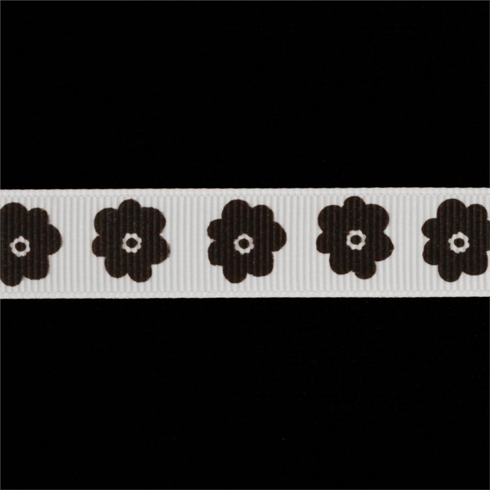 Riley Blake 5/8'' Grosgrain Ribbon Flower Black