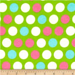 Gigi Giraffe Flannel Large Dots Green/Multi