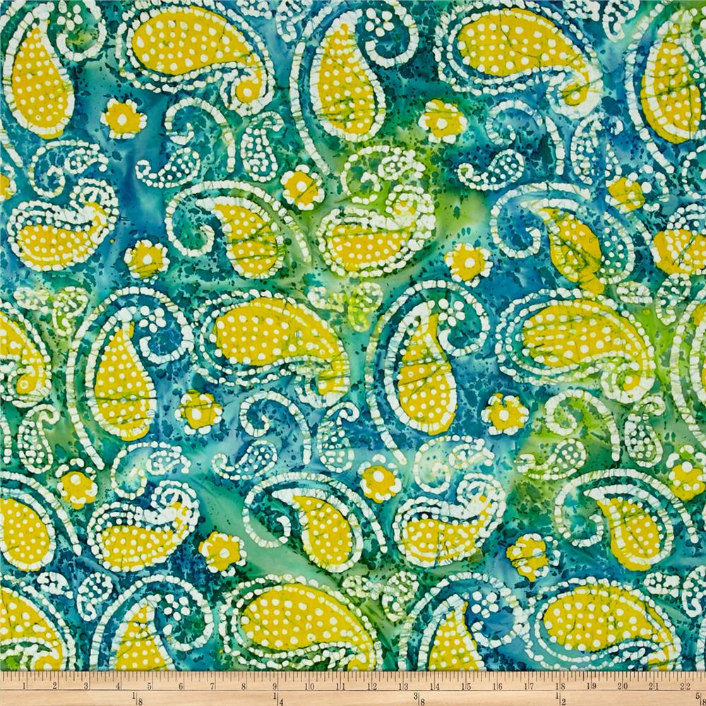 Indian Batik Caledonia Garden Paisley Teal/Yellow