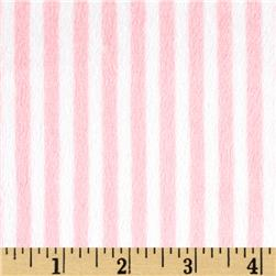 Minky Cuddle Classic Mini Stripe Blush/White Fabric