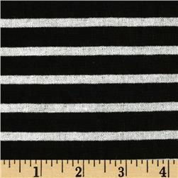 Designer Yarn Dyed Stripe Double Pique Jersey Knit Black/White