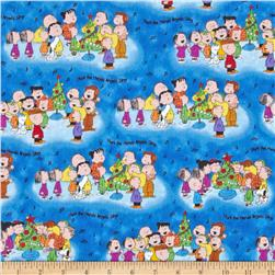 Peanuts Christmas Time Peanuts Caroling Blue Fabric