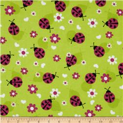 Flannel Lady Bugs Green Fabric