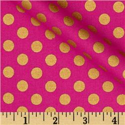 Kaufman Spot On Metallic Medium Dot Azalea Fabric