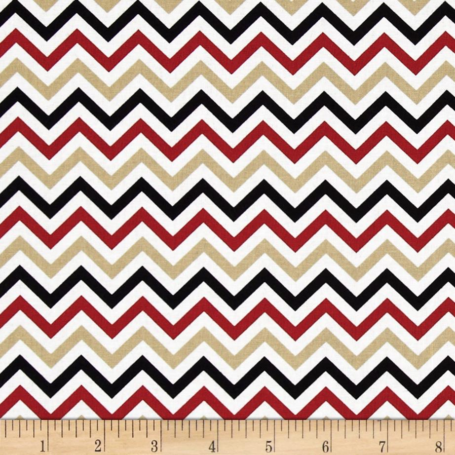 Ups & Downs Chevron Red/Black/Gold - Discount Designer Fabric ...