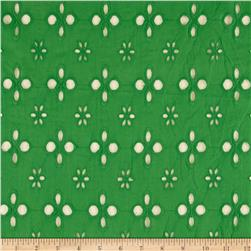 Cotton Eyelet Large Floral Green