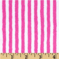 Minky Cuddle Classic Mini Stripe Fuchsia/Snow Fabric
