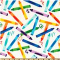 Michael Miller Look What I Made Crayon Craze Multi\White