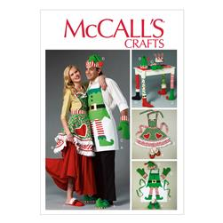 McCall's Aprons, Oven Mitts, Hat, Slippers, and Table Leg Decorations Pattern M6860 Size OSZ