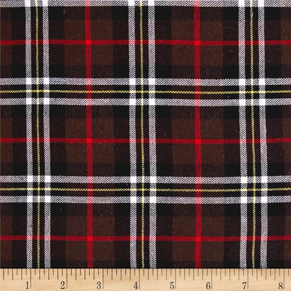 Yarn Dyed Flannel Plaid Brown/Red/White/Black Fabric
