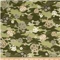 Kanvas Cool Girl Camo Skulls Olive/Green