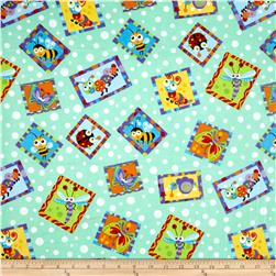 Comfy  Flannel Bugs In Squares Green