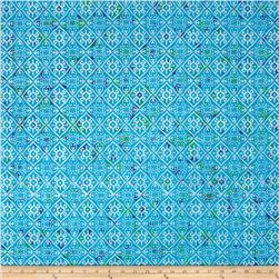 Indian Batik Montego Bay Patchwork  Aqua/Silver