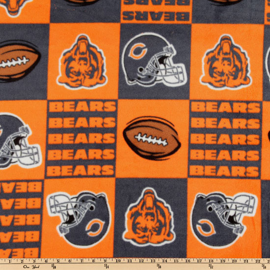 NFL Fleece Chicago Bears Squares Orange Fabric