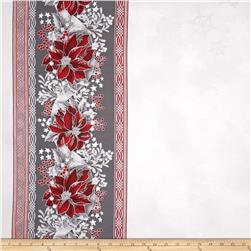 Robert Kaufman Holiday Flourish Metallic 57 In. Wide Double Border Silver