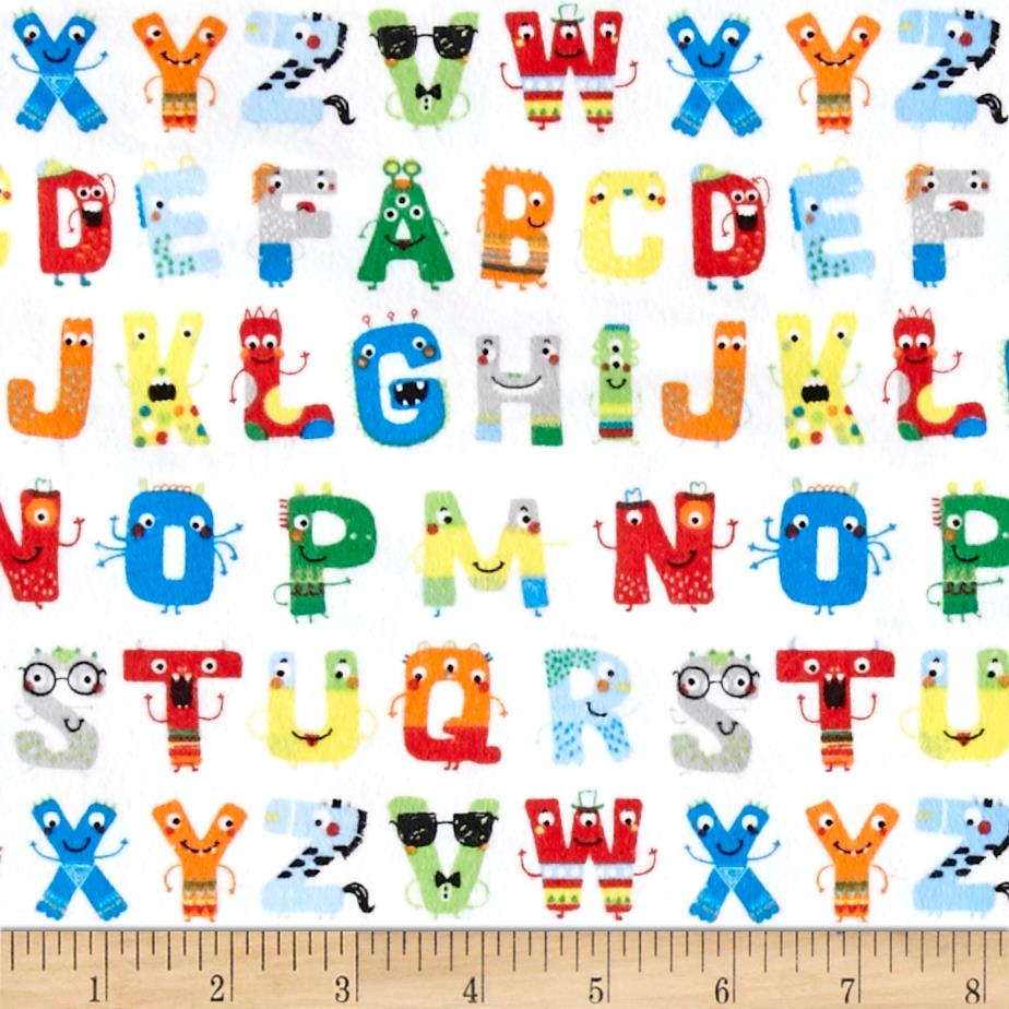 Zoo Mates Flannel Alphabet Faces White/Multi Fabric