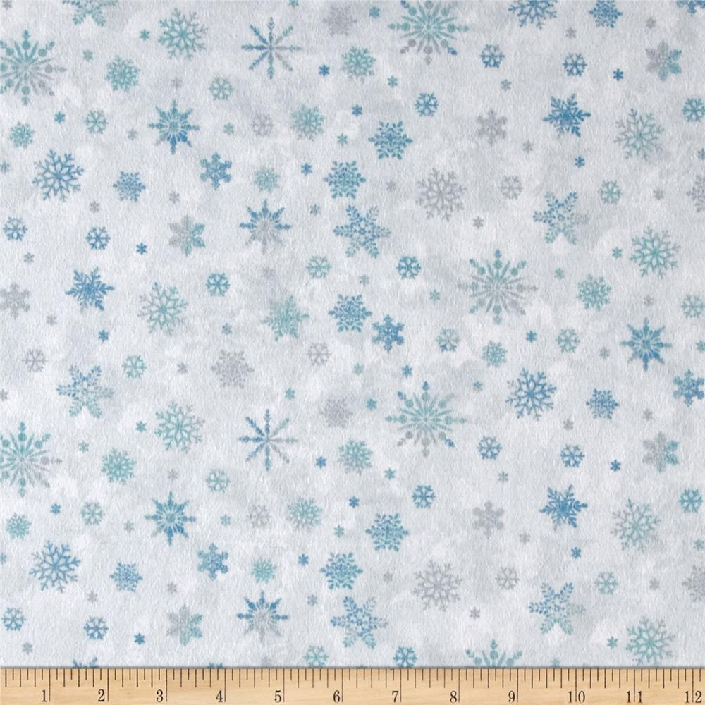 Winter wonderland flannel mini snowflake blue discount for Flannel fabric
