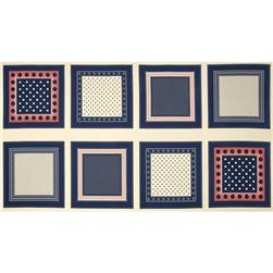 Moda Polka Dots & Paisley Bandana Blocks Cream - Blue