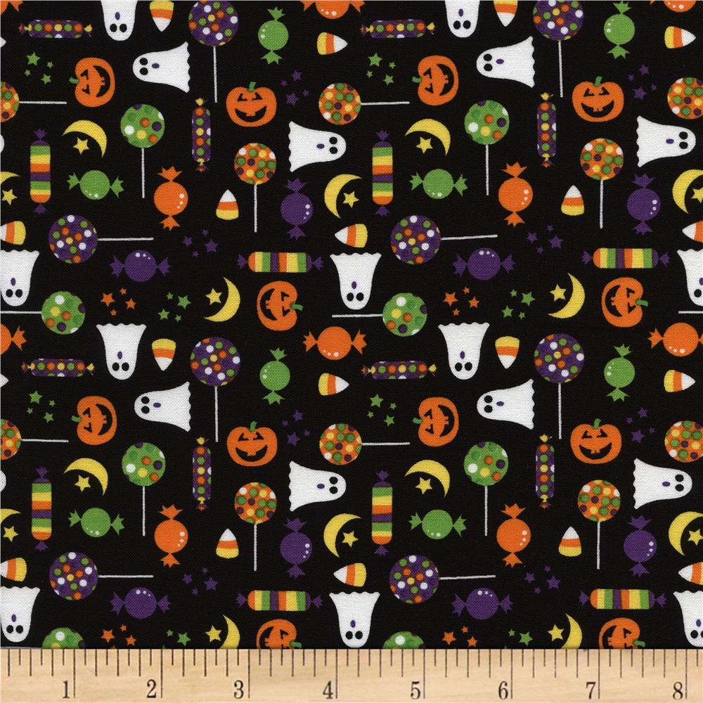 Timeless Treasures Halloween Minis Candy Black