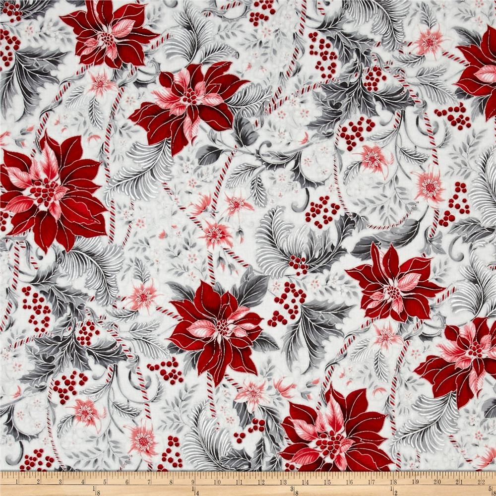 Kaufman holiday flourish metallics poinsettias silver for Modern fabrics textiles