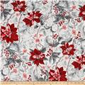 Kaufman Holiday Flourish Metallics Poinsettias Silver