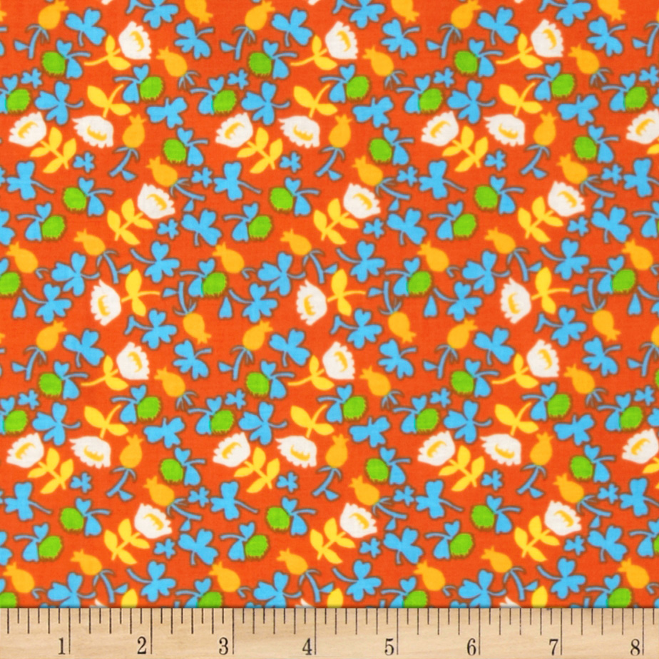 Heather Ross Briar Rose Calico Orange/White Fabric