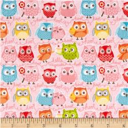 Riley Blake Tree Party Flannel Owls Pink